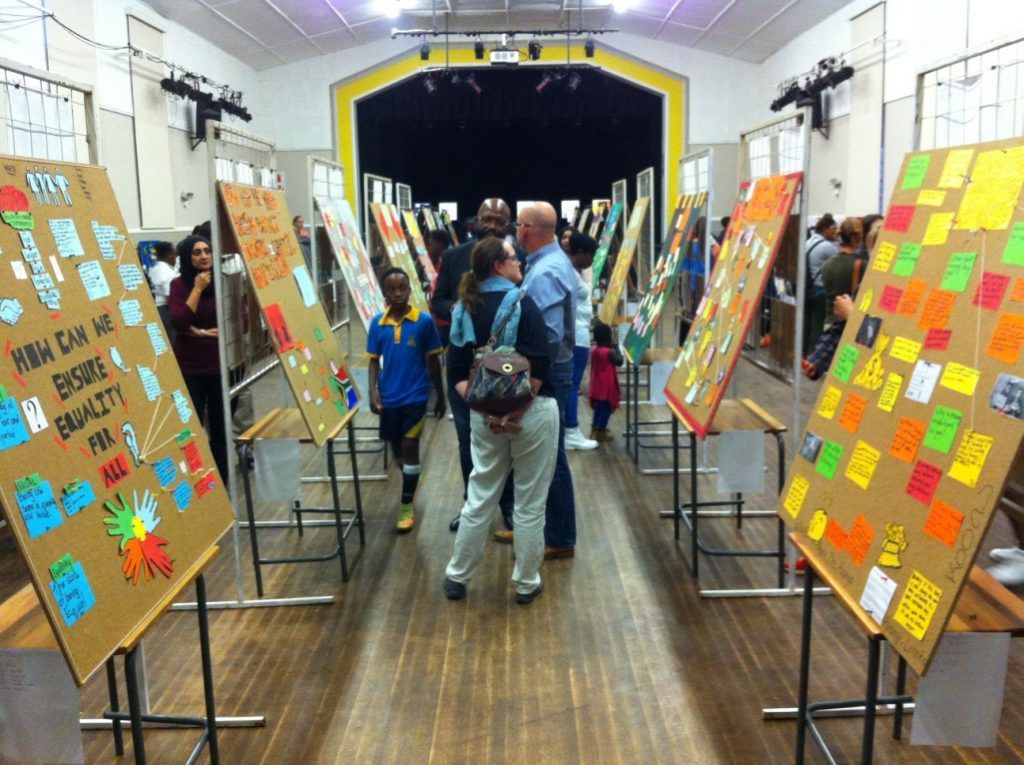 All the conversation walls lined up at MindBurst's exhibition